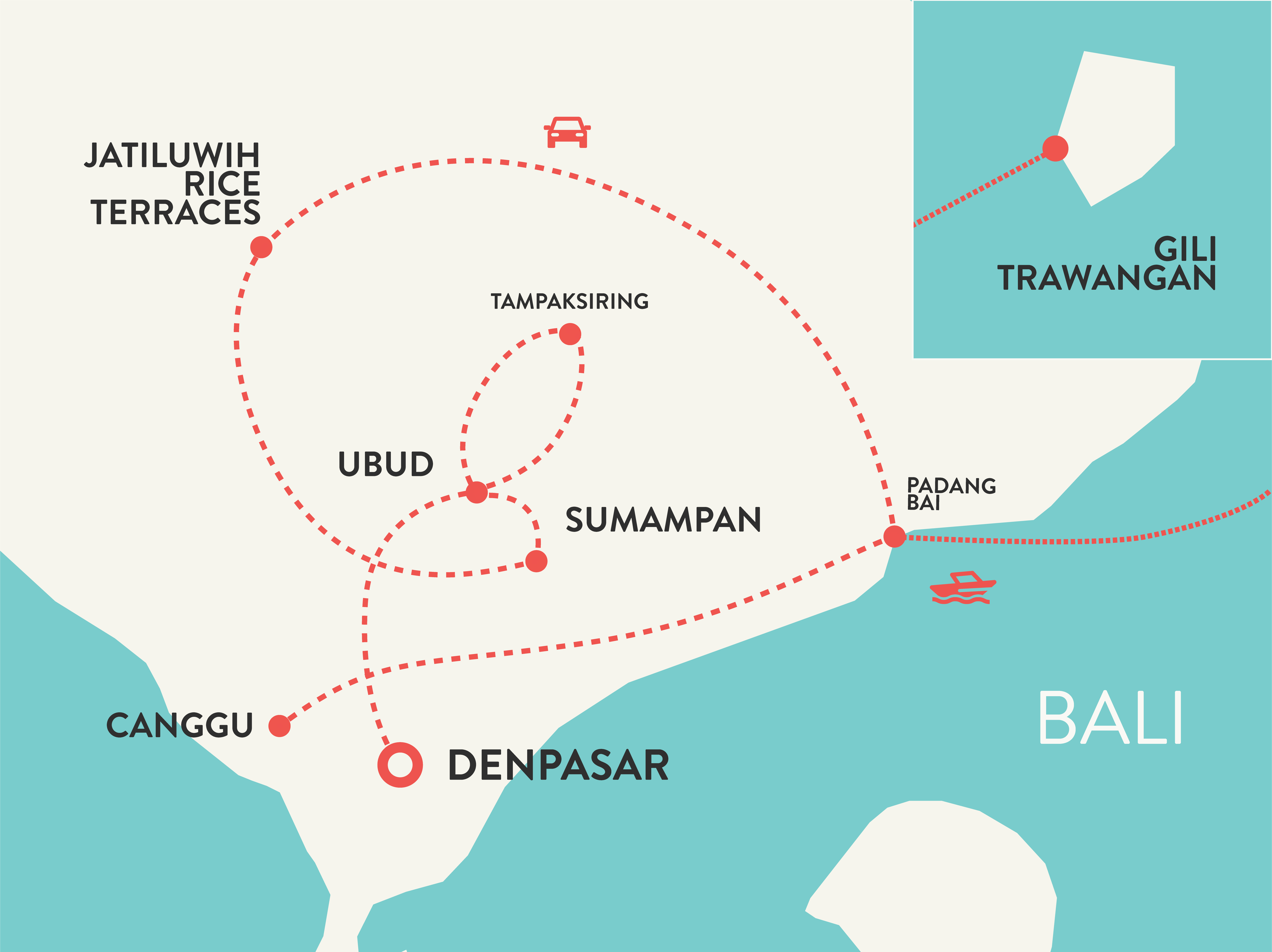 Bali tour for solo female travelers map