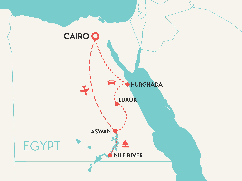 solo female travel tour map of Egypt