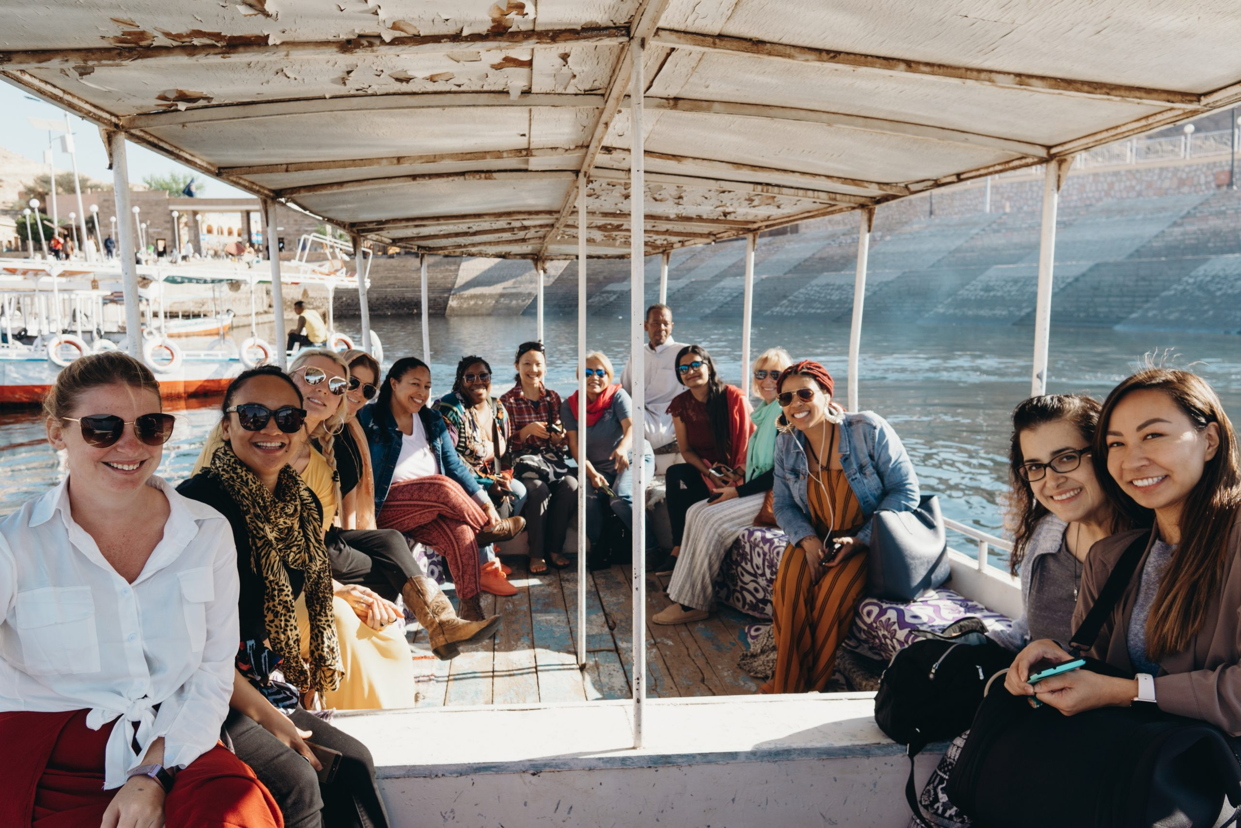 solo female travelers on a boat in Egypt