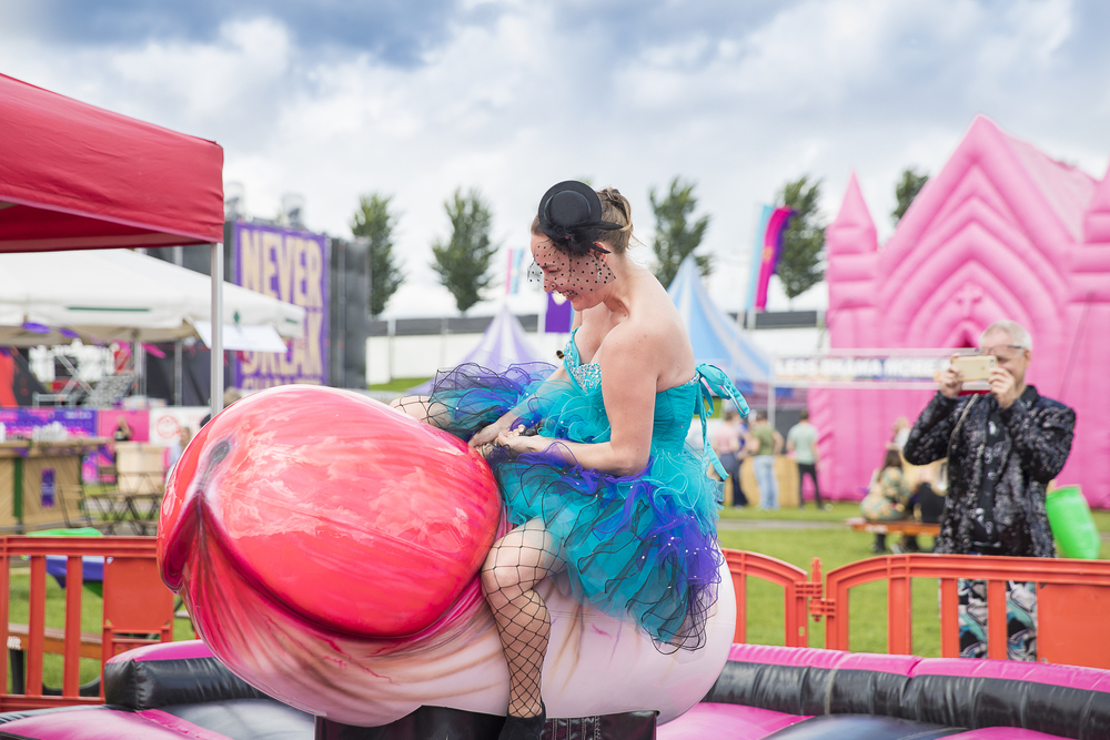 woman traveling solo at penis festival