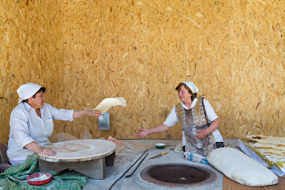 women trip to armenia making lavash