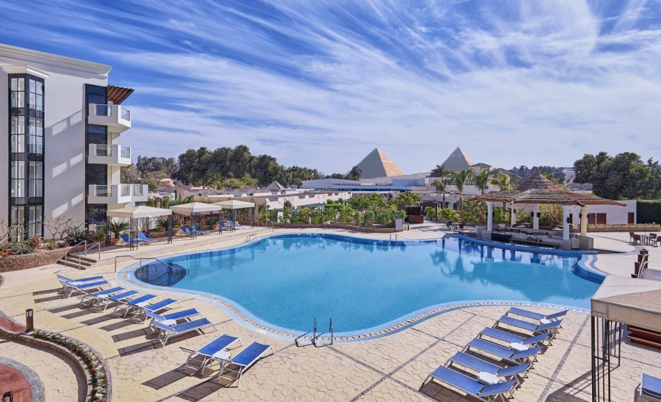 Hotel pool by Pyramids