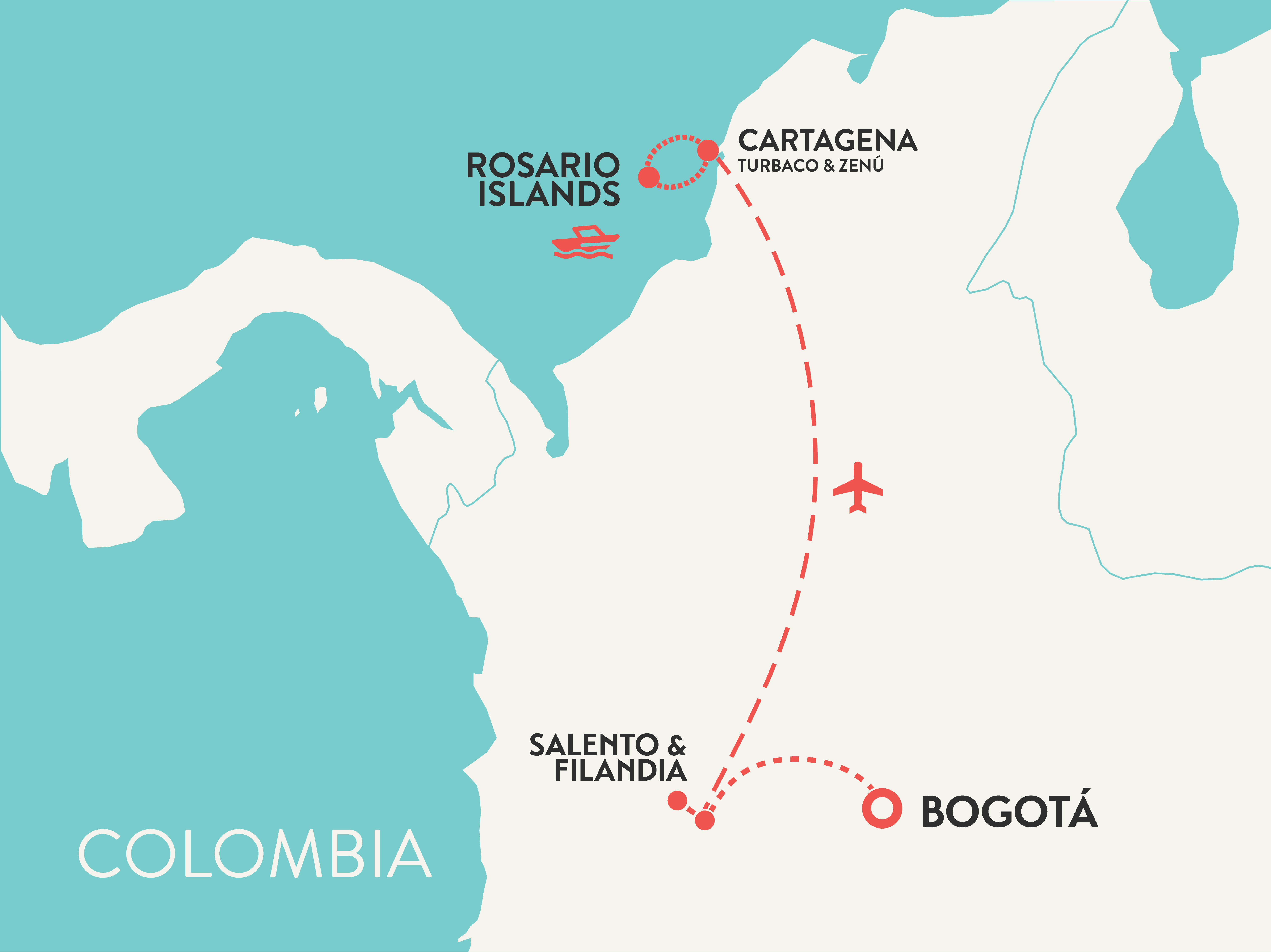 Colombia tour women only map