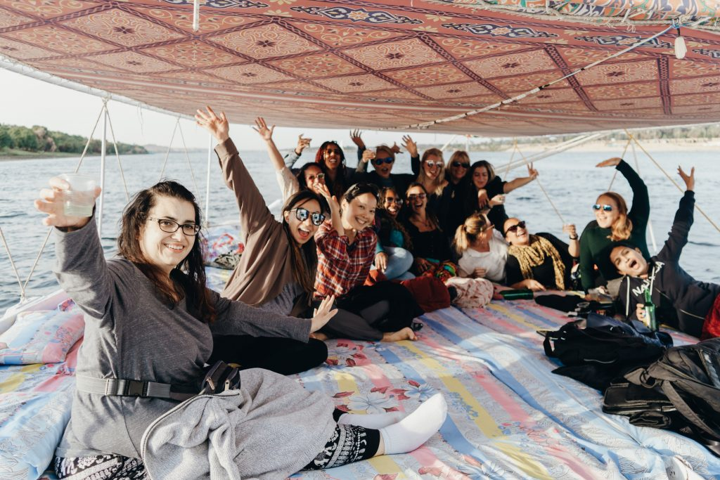 Women on a Sailboat in Egypt