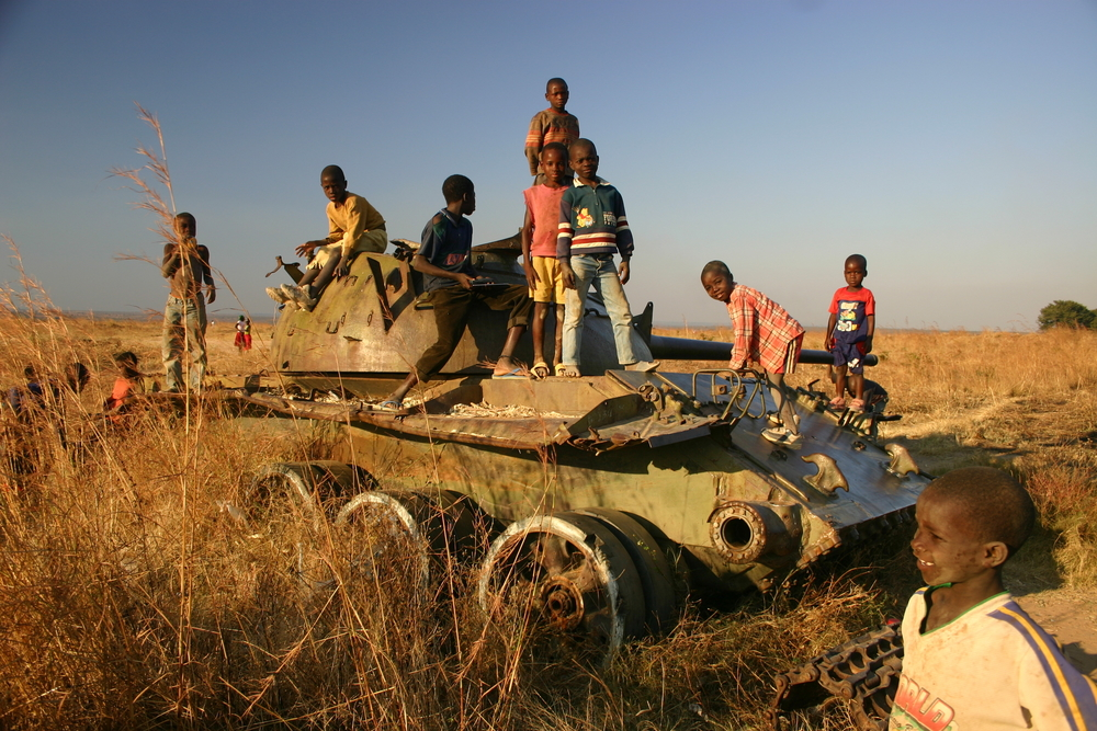 kids playing on tank