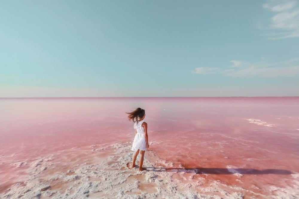 pink lake at Lake Hillier, Australia