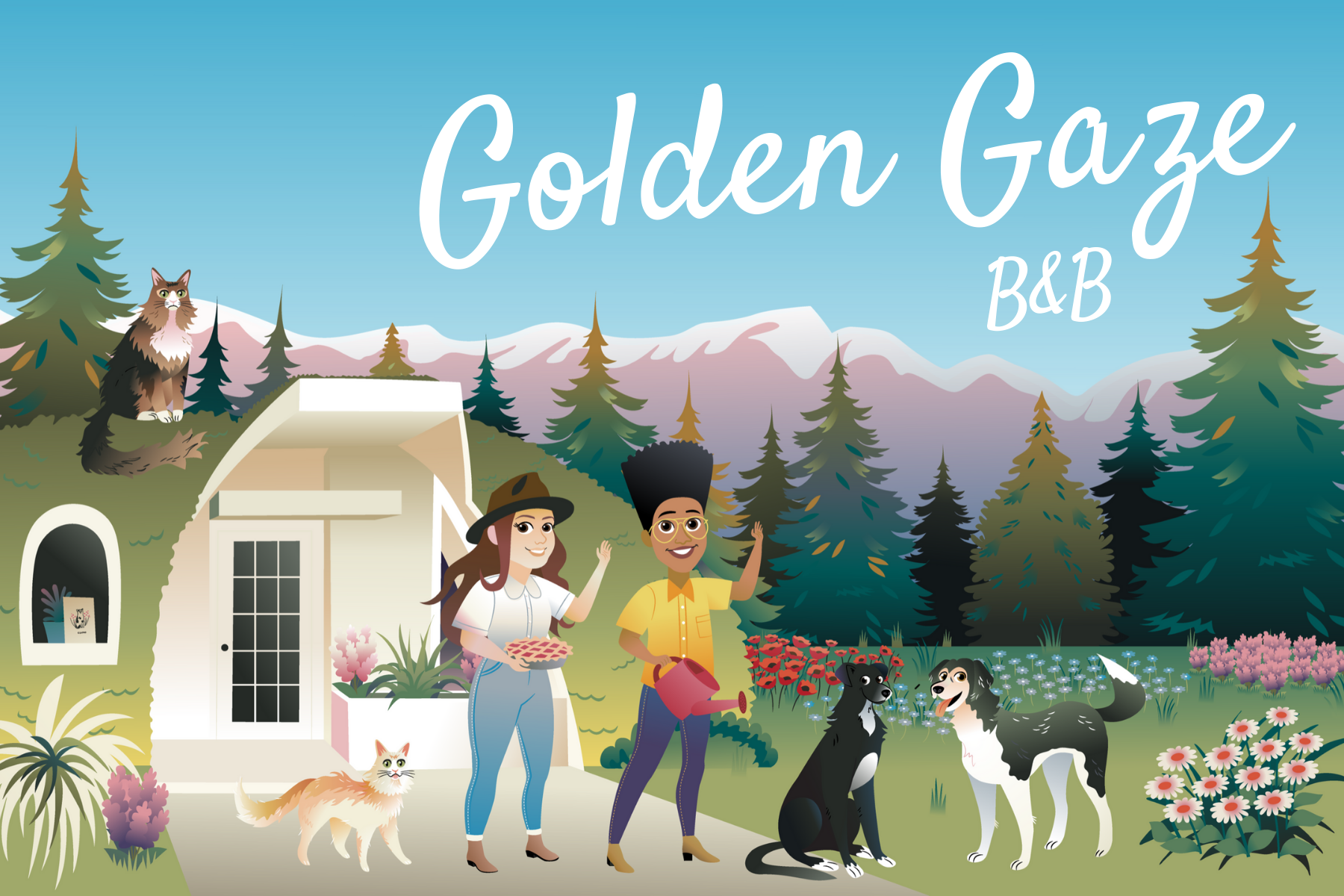 Artists rendition of the Golden Gaze B&B, showing Katie and Reigh waving, with two dogs and a cat outside a house. There are mountains and trees in the background.