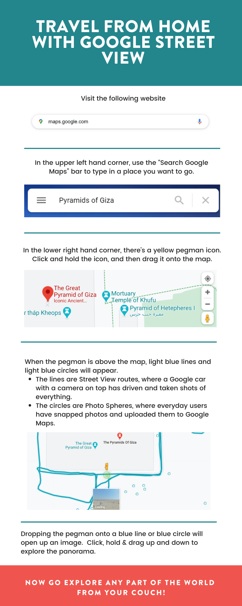 Infographic detailing how to use Google Street View to travel from home