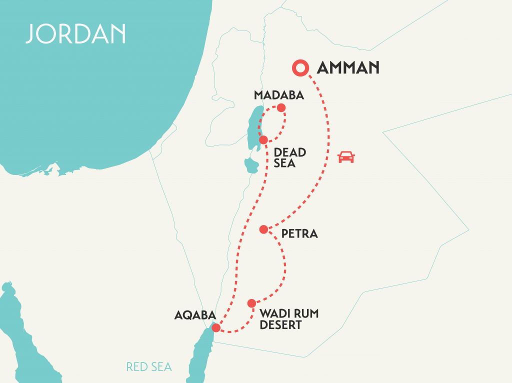 solo women travel tour map of Jordan