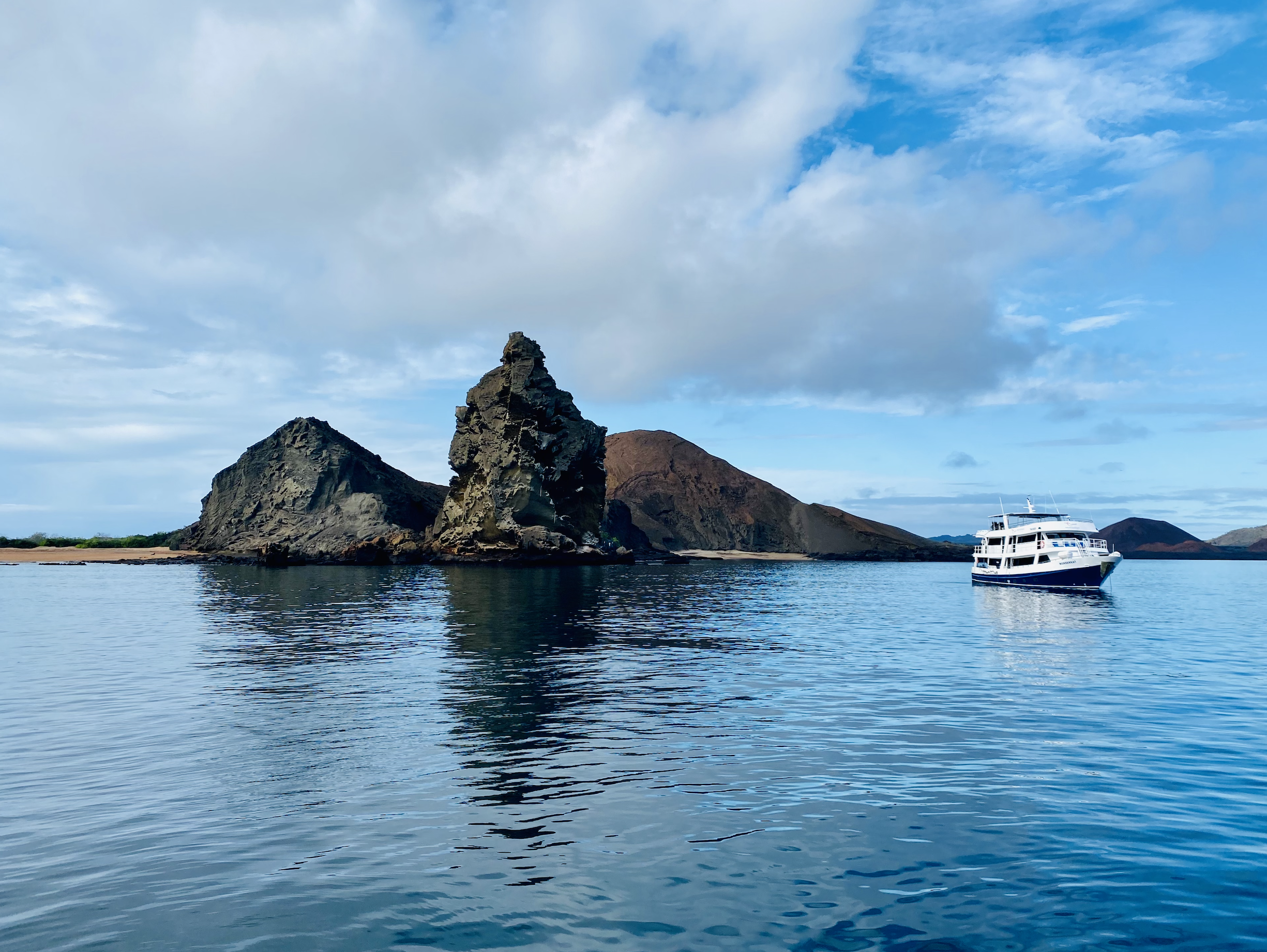 Galapagos Island and boat