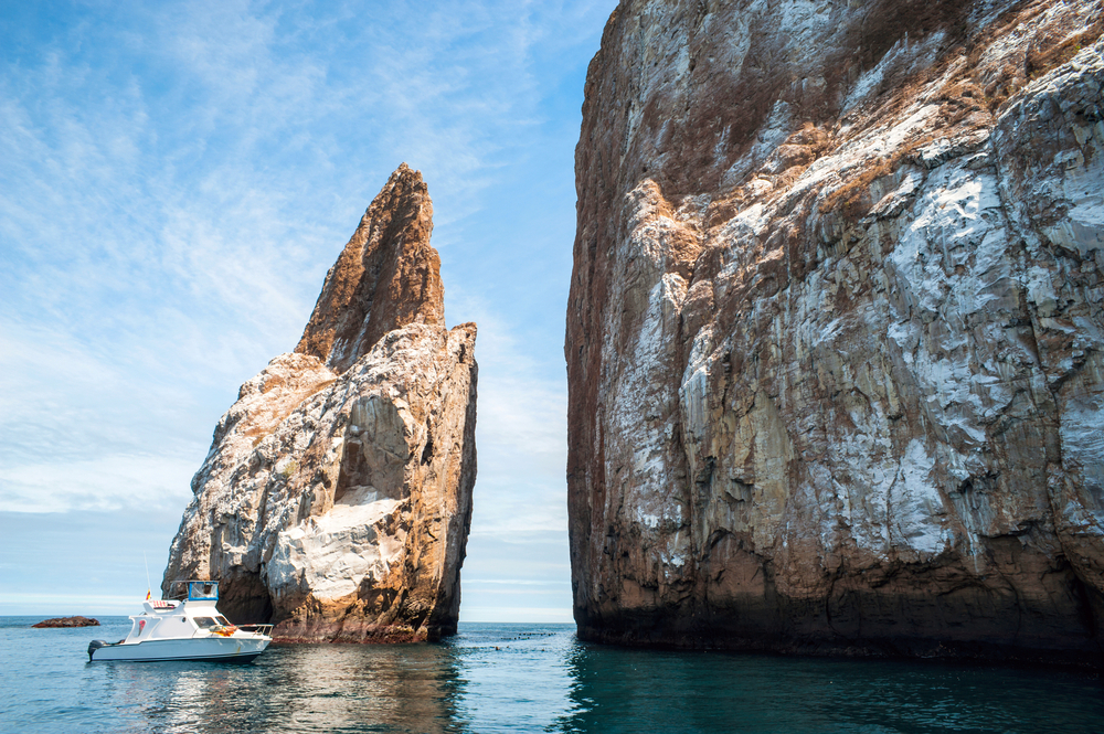 Kicker Rock with a boat