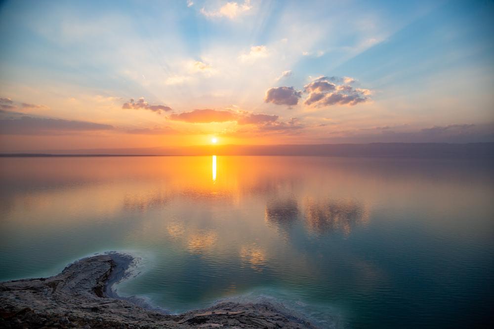 sun setting Dead Sea Jordan
