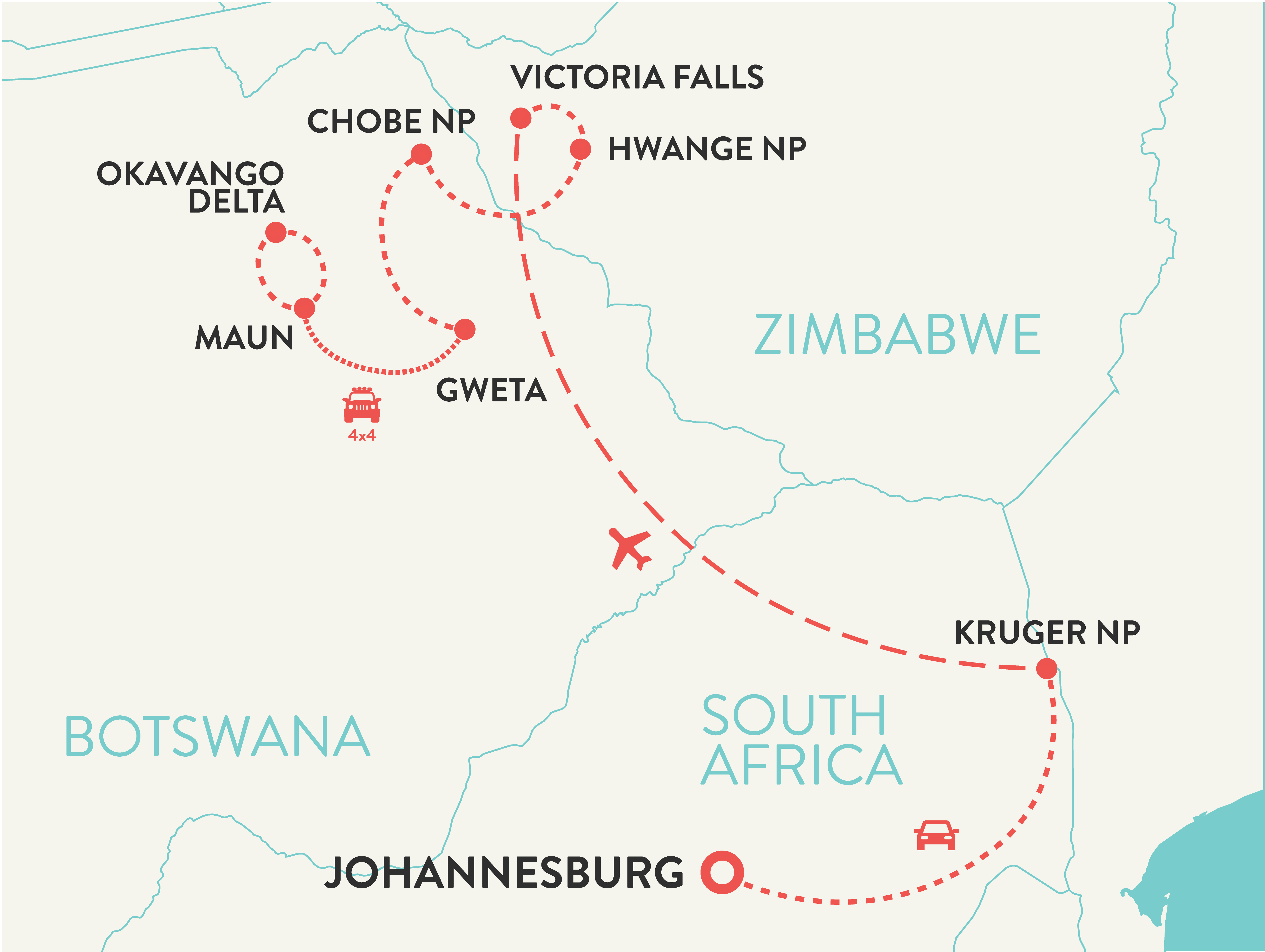 Southern Africa solo female travel tour map