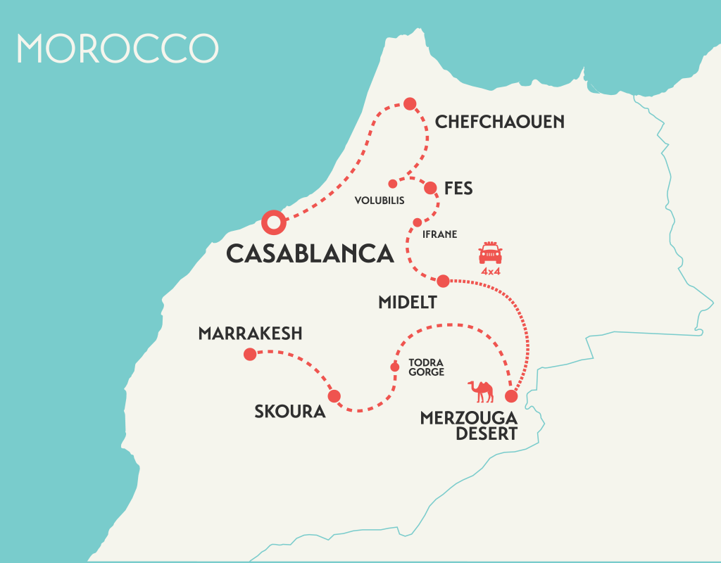 solo female travel tour map of Morocco